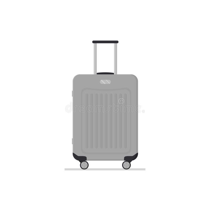 Szara plastikowa walizka na kołach z teleskopową rękojeścią Podróży torba Polycarbonate bagaż Bagaż turystyczna Płaska wektorowa  ilustracji