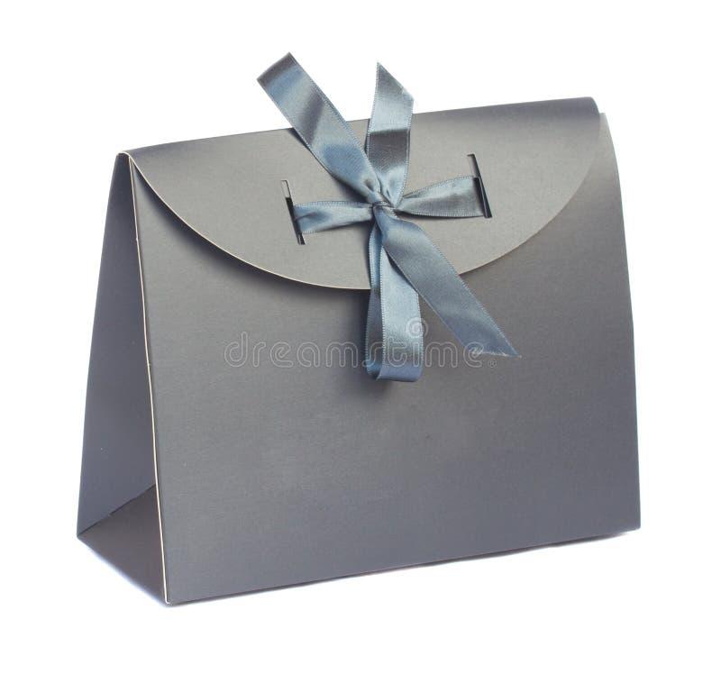 Szara prezent torba zdjęcia stock