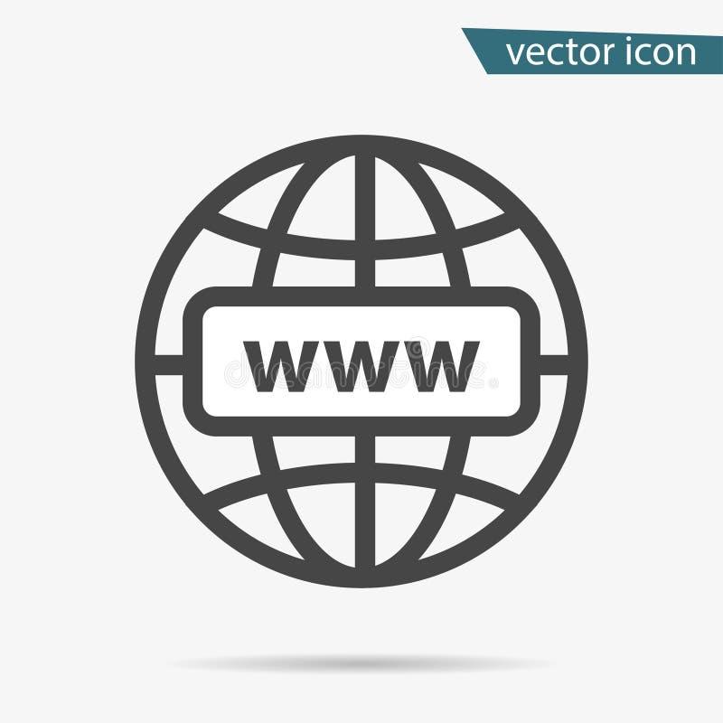 Szara strony internetowej ikona odizolowywająca na tle Nowożytny prosty płaski kula ziemska znak Interneta biznesowy pojęcie royalty ilustracja
