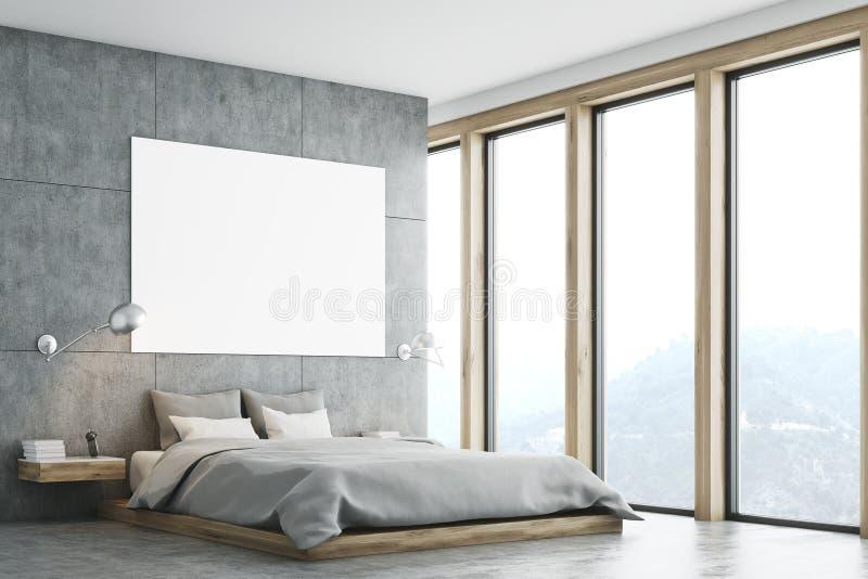 Szara sypialnia z plakatem i okno ilustracja wektor