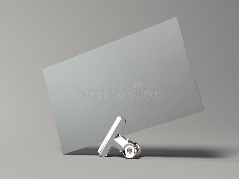 Szara wizytówka z srebną klamerką świadczenia 3 d ilustracja wektor