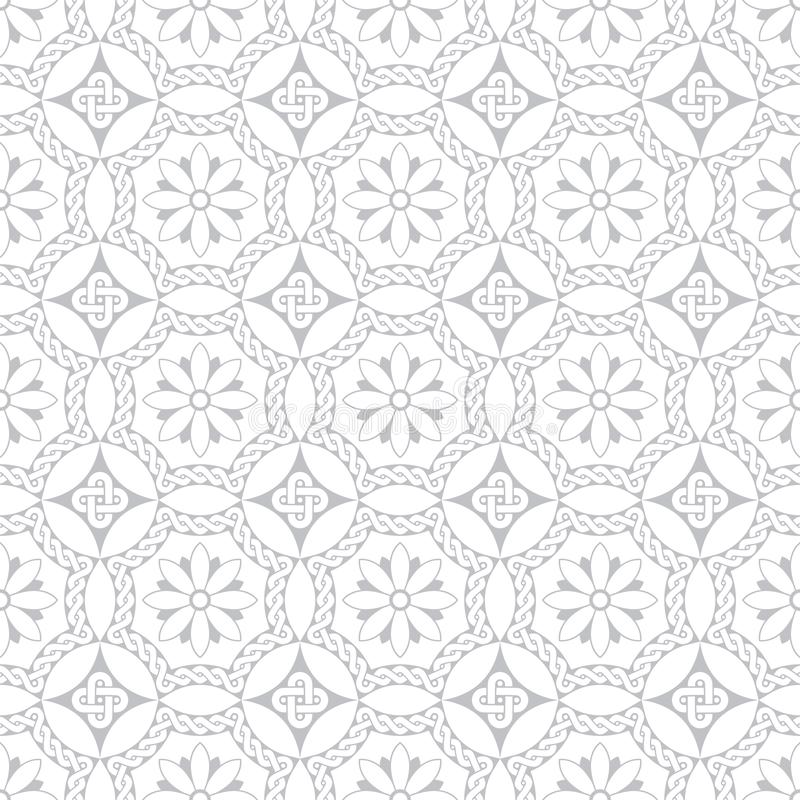 Szare bezszwowe kwiecistego ornamentu antyka stylu rzymianina mozaiki ilustracja wektor