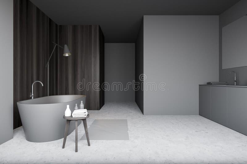 Szare i drewniane wnętrze łazienki ilustracji