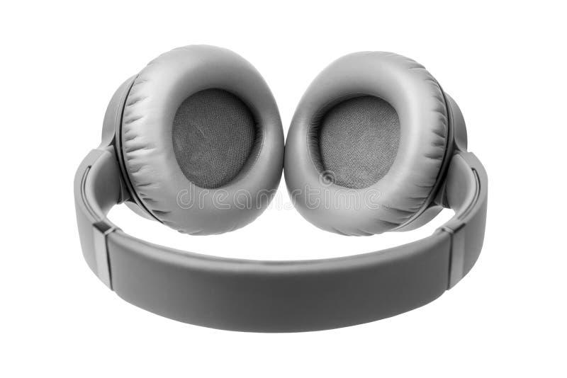 Szare słuchawki bezprzewodowe na białym tle wyizolowane z bliska, duży, szary zestaw słuchawkowy bluetooth, nowoczesne, czarne sł zdjęcia royalty free