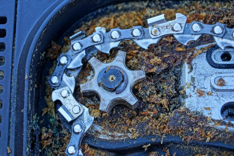 Szarego żelaza łańcuch w brudnym trociny w elektrycznym i przekładnia zobaczyliśmy fotografia royalty free