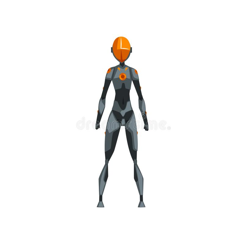 Szarego żeńskiego robota astronautyczny kostium, bohater, cyborga kostium, frontowego widoku wektorowa ilustracja na białym tle ilustracji