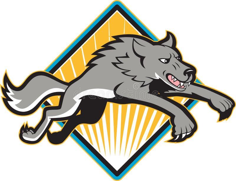 Szarego wilka Dzikiego psa Skokowy napadanie ilustracja wektor