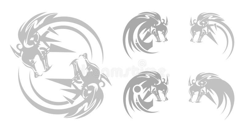 Szarego wilka głowy symbole w plemiennym stylu ilustracji