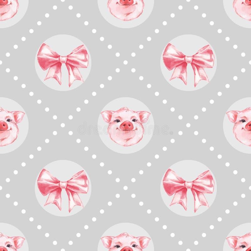 Szarej akwareli bezszwowy wzór z świniami 3 ilustracji