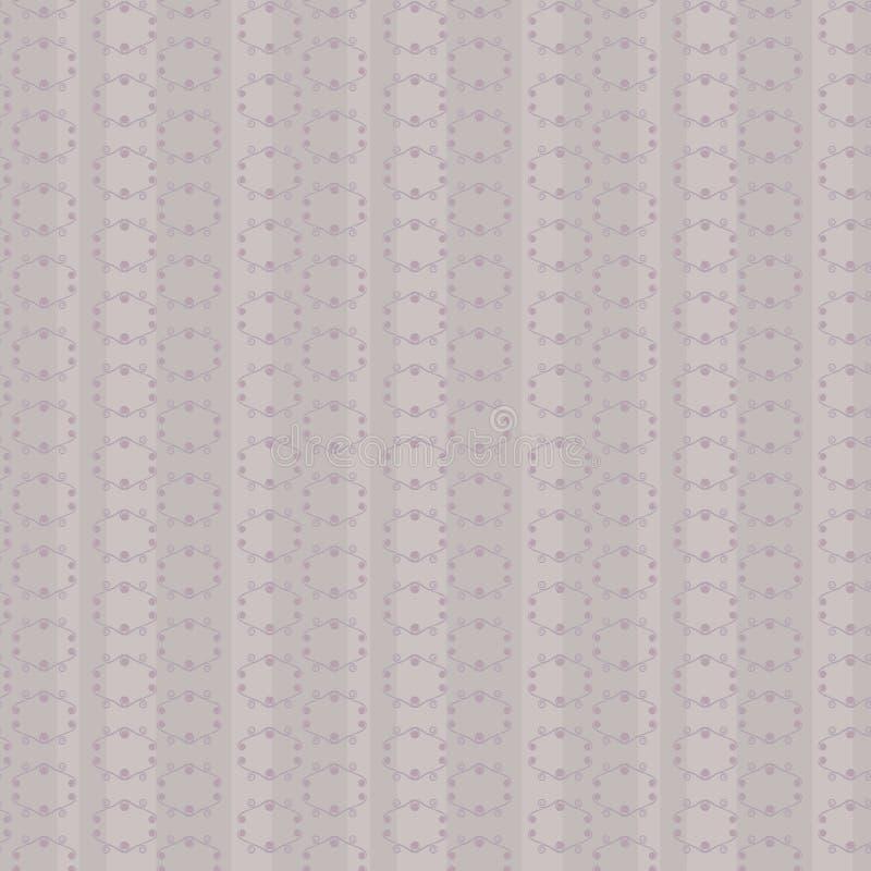 Szarość grżą bezszwowego retro wektoru wzór z liniami rhombuses i kędziorów pionowo lampasów spokojnego tła scrapbooking dziennic ilustracji