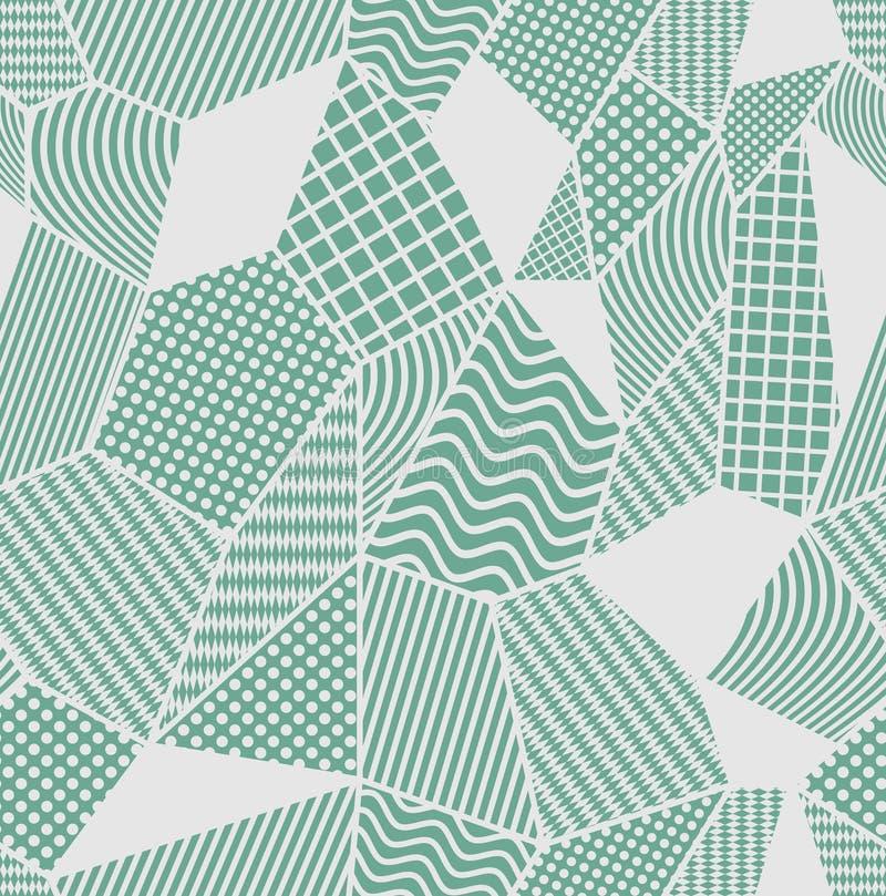 Szarość i zieleni płytka z patchworkiem deseniował elementy Komponujący od poligonalnych kształtów z prostymi geometrycznymi wzor royalty ilustracja