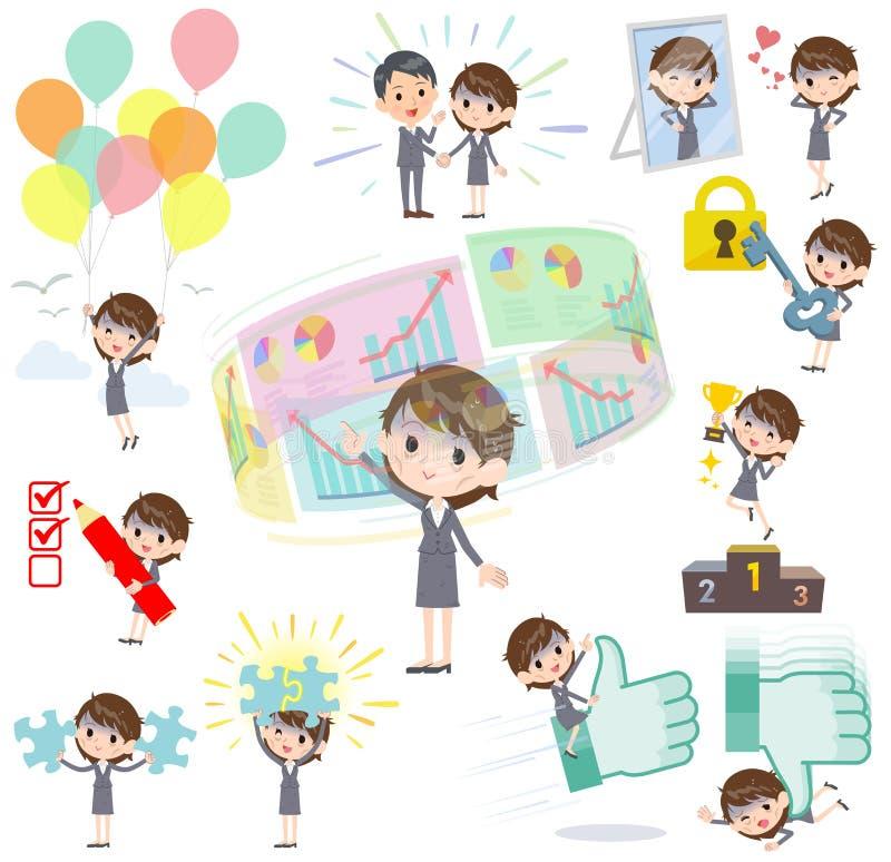 Szarość nadają się biznesowych kobiet Złych condition_success & pozytyw royalty ilustracja