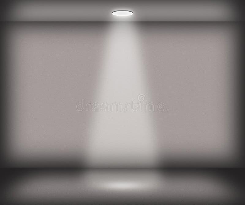 Szarość Przerzedżą światło reflektorów pokoju tło ilustracja wektor