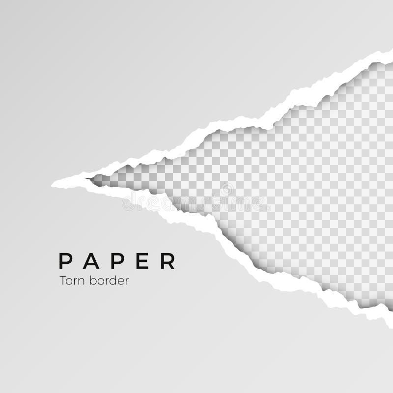 Szarość rozdzierać otwierają papier z przejrzystym tłem drzejący papierowy prześcieradło struktura papierowej również zwrócić cor ilustracji