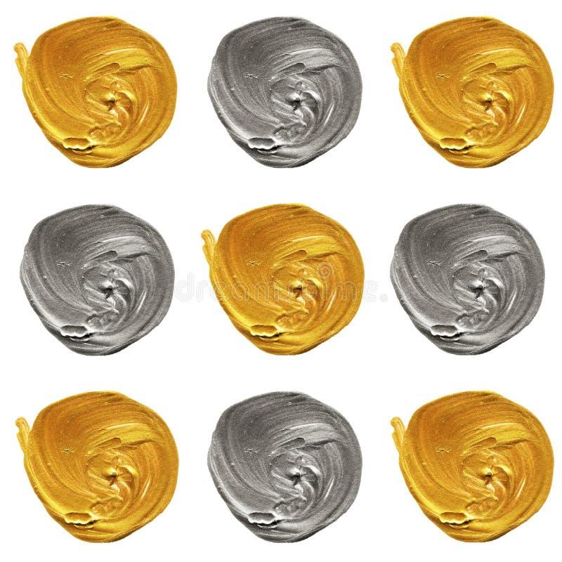 Szarość, srebro, złoty pastelowy polki kropki bezszwowy wzór, akrylowy kropkowany tło royalty ilustracja