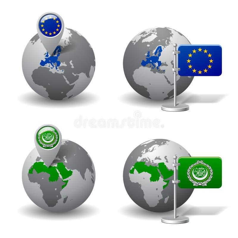 Szarość Ziemskie kule ziemskie z desygnatem Europejskiego zjednoczenia i Arabskiego liga kraje ilustracja wektor