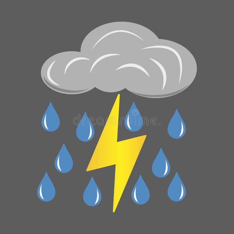 Szarości chmura z błyskawicy i deszczu ikoną Kreskówki ilustracja chmury z błyskawicy i deszczu wektorową ikoną dla sieci ilustracji
