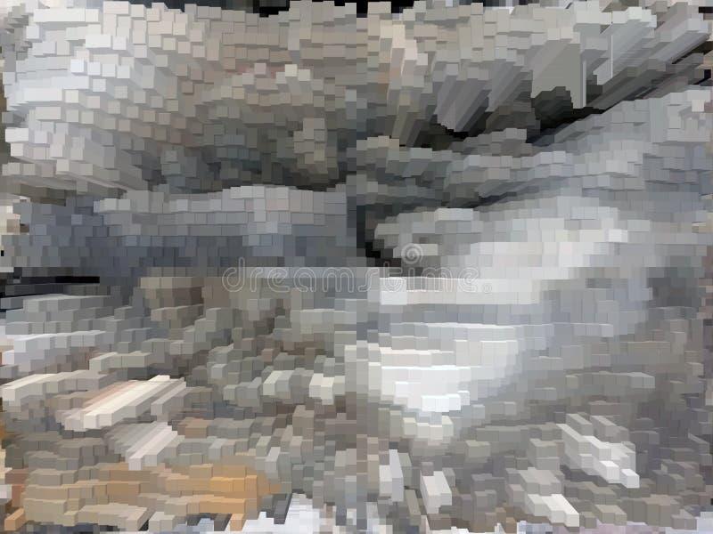 Szarości i białej dynamiczna sześcian struktura ilustracja wektor