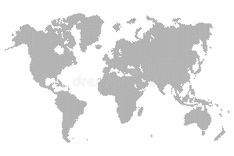 Szarości Kropkowana światowa mapa odizolowywająca na tle Pusty punktu szablon dla infographic, okładkowego projekta, Płaska ilust royalty ilustracja