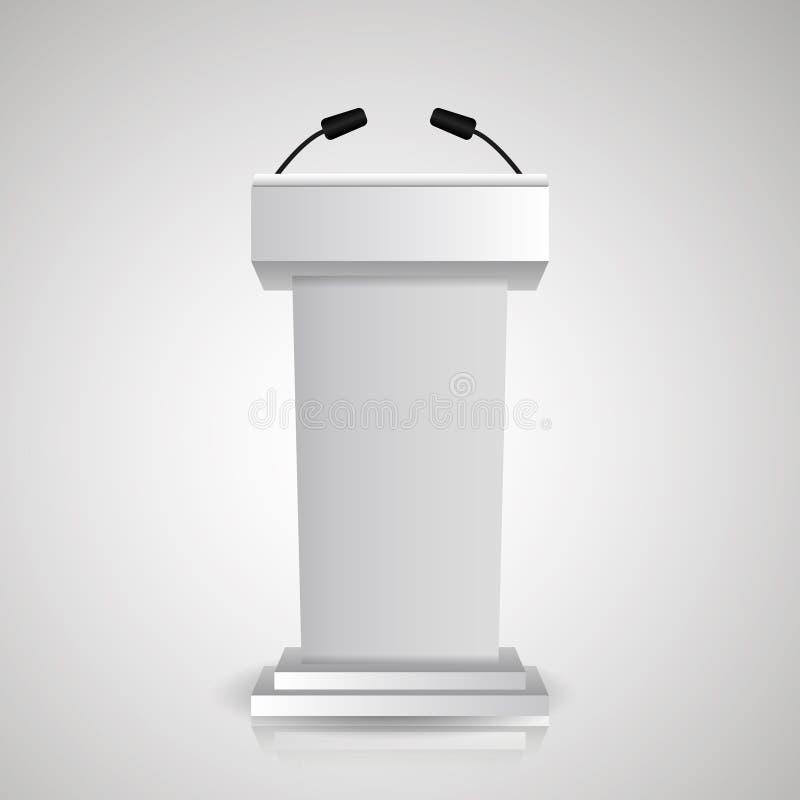 Szarości sceny stojak lub debaty podium mównica dla mówcy z mikrofonami 3d trybuny realistyczne ikony ilustracja wektor