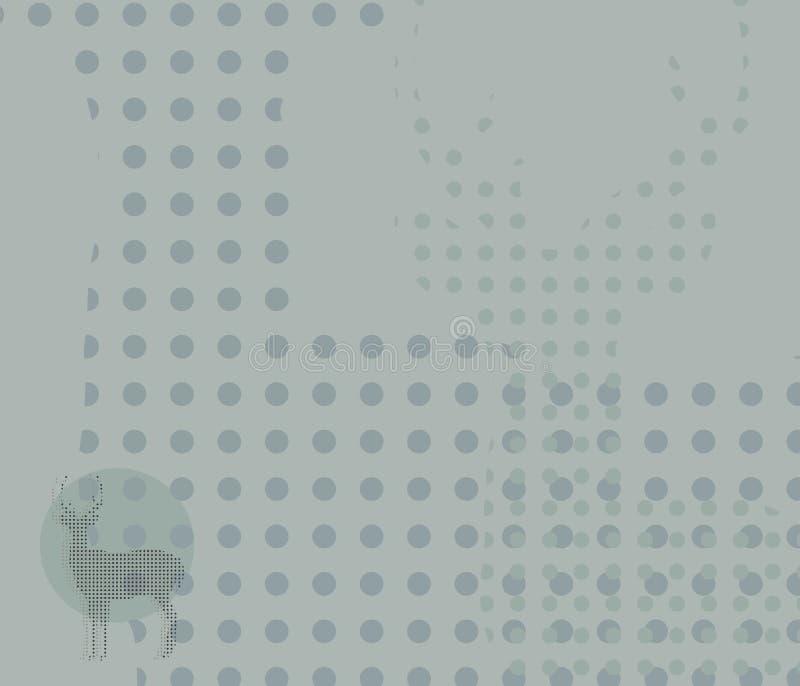Szaroniebieski tło z okręgami i wzoru konturem rogata jelenia postać krępował technicznego wektorowego ilustracyjnego tło ilustracji