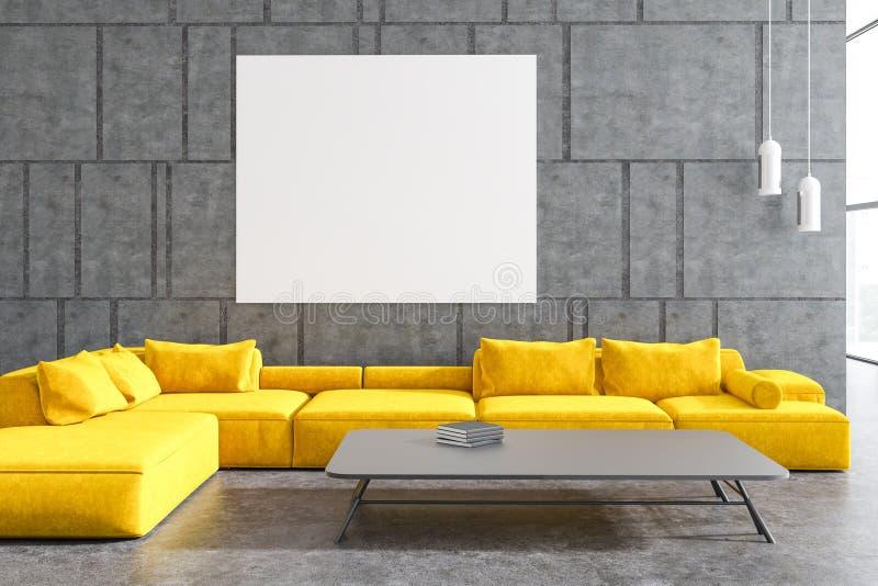 Szary żywy pokój, żółta kanapa, plakat ilustracji