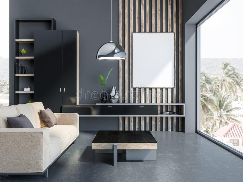 Szary żywy pokój, beżowa kanapa i plakat, ilustracja wektor