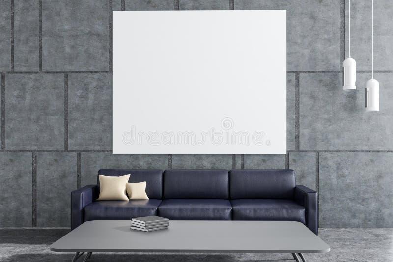 Szary żywy pokój, czarna kanapa, plakat ilustracji