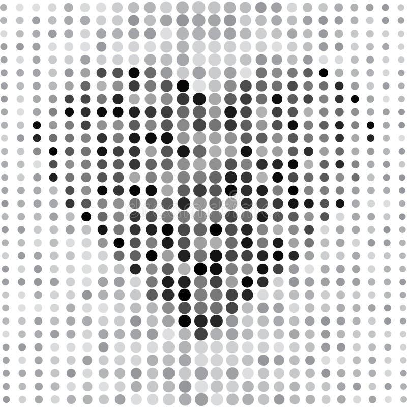 Szary abstrakcjonistyczny tło z kropkami i czarnym sercem wektor ilustracji
