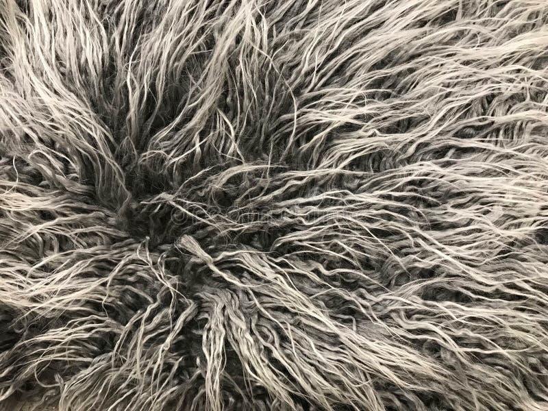Szary dywanik, długie włosy dywanowa tekstura lub tło fotografia stock