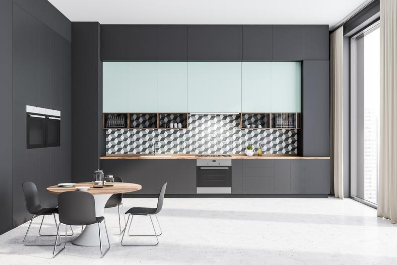 Szary i błękitny kuchenny wnętrze z stołem ilustracji