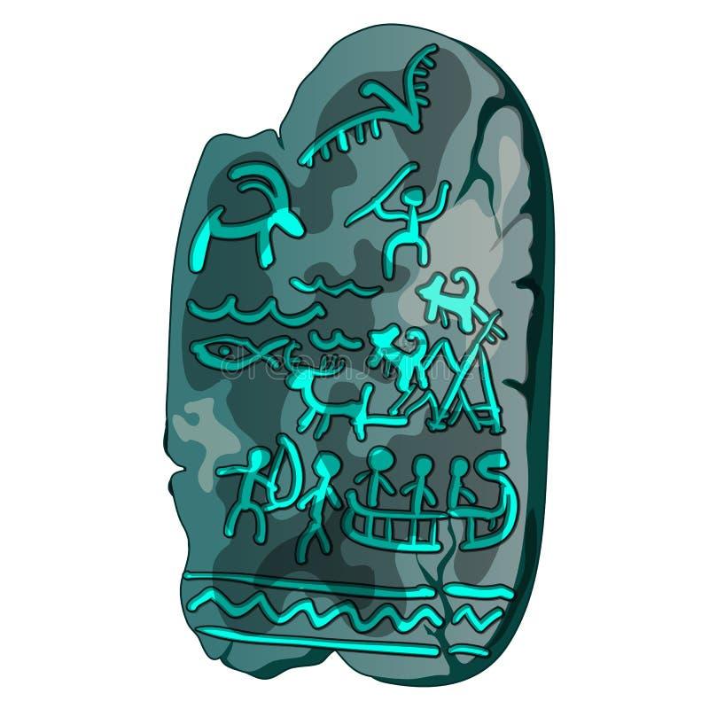 Szary kamienia talerz z antycznymi rysunkami prehistoryczni ludzie, odosobnionymi na białym tle Wektorowy kreskówki zakończenie ilustracja wektor