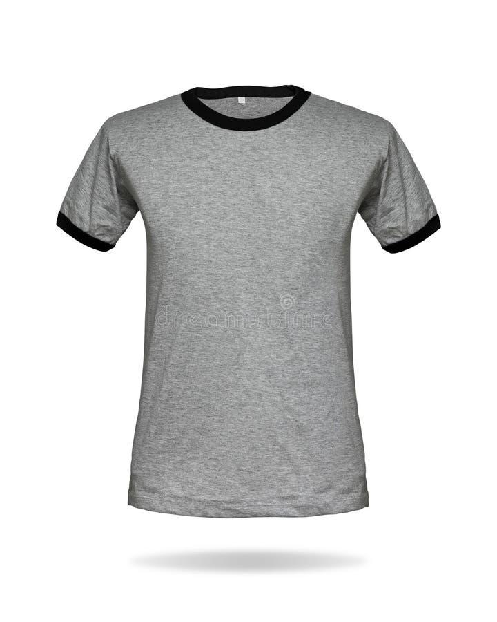 Szary koszulka szablon na odosobnionym tle z ścinek ścieżką Strój dla twój projekta obraz stock