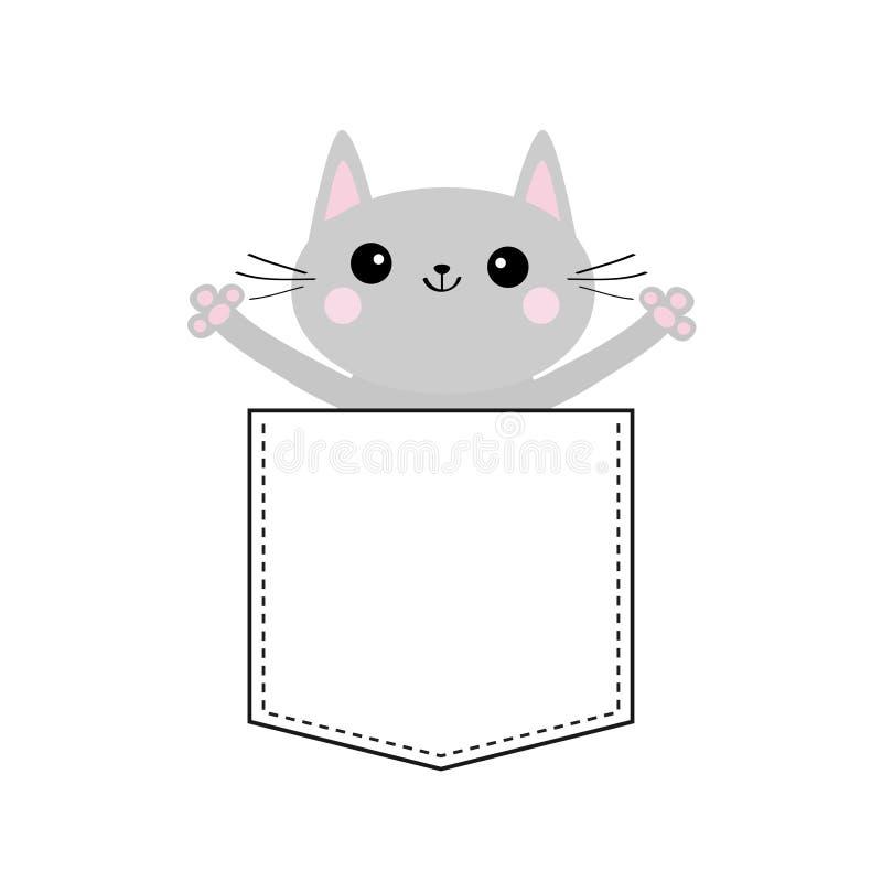 Szary kot w kieszeni Ręka mienie ręki śliczna zwierzę kreskówka Figlarki kiciuni charakter Junakowanie linia Zwierzęcia domowego  ilustracja wektor