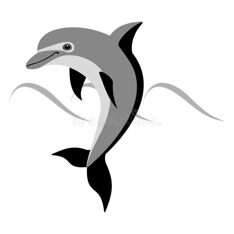Szary kreskówka delfin przedmiotem tła ścieżki wycinek odizolowane white ilustracja wektor