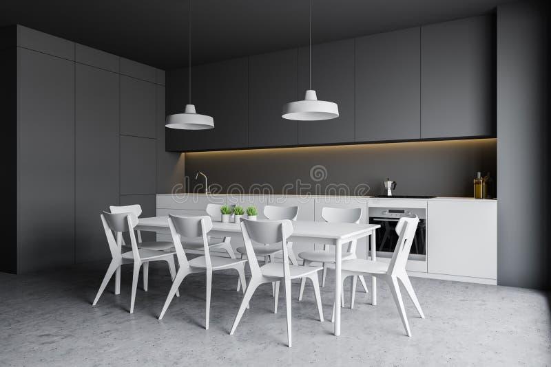 Szary kuchnia kąt z bielu stołem i kontuarami ilustracja wektor