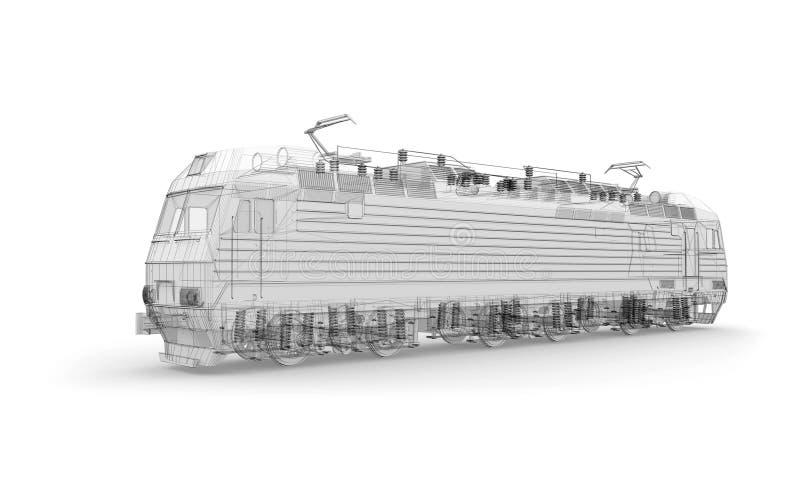 Szary lokomotywy 3d model ilustracja wektor
