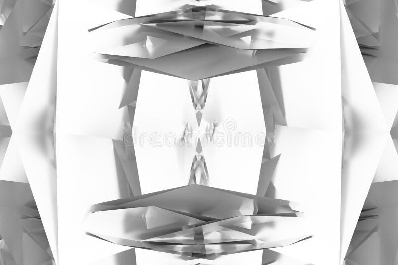 Szary lub czarny i biały b&w Dekoracyjny, ilustracji CGI, przypadkowy geometryczny tło dla projekt tekstury tła, 3 d czyni? ilustracja wektor