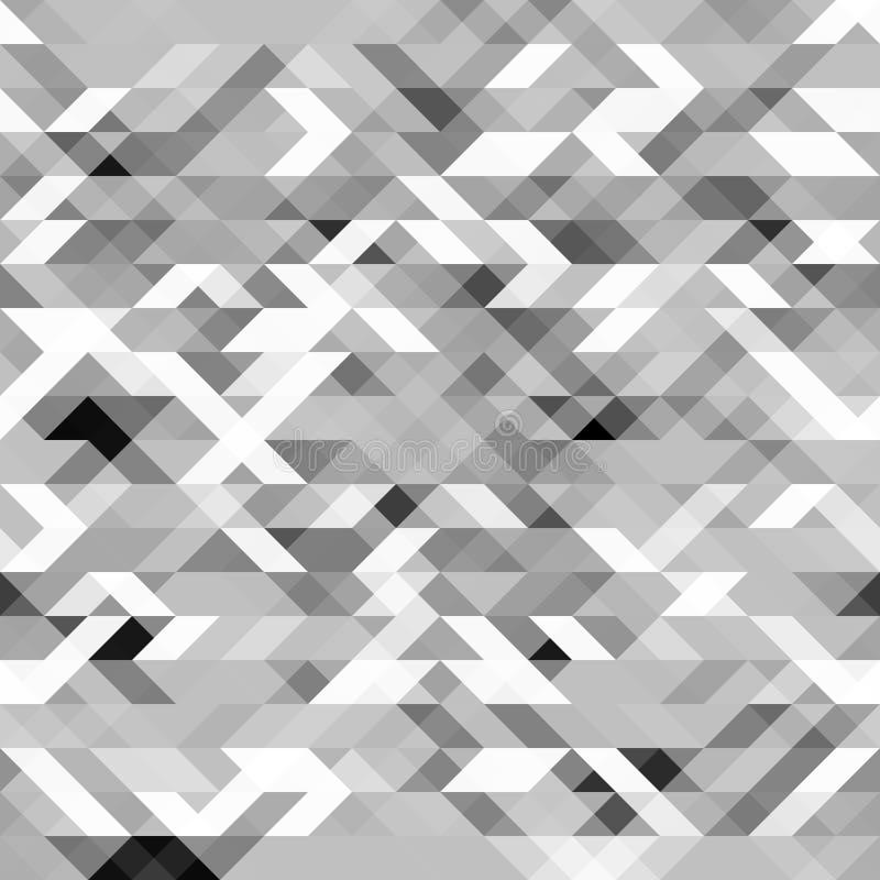 Szary poligonalny bezszwowy wzór Grayscale futurystyczna geometryczna tekstura ilustracja wektor