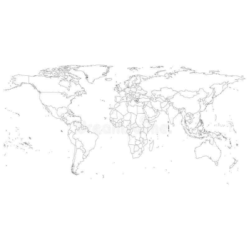 Szary Polityczny Światowej mapy wektor ilustracja wektor