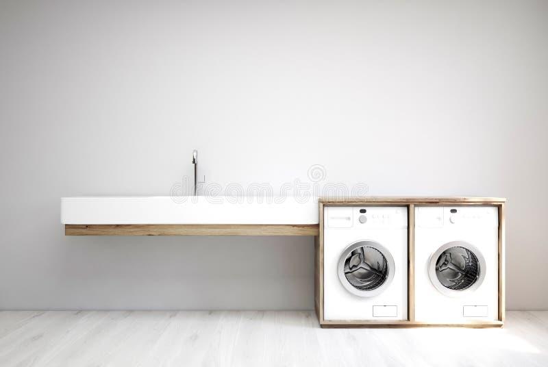 Szary pralniany pokój, zlew, pralki ilustracji