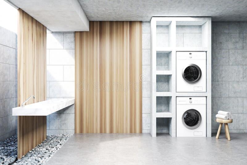 Szary pralniany pokój, zlew, pralki drewno ilustracja wektor