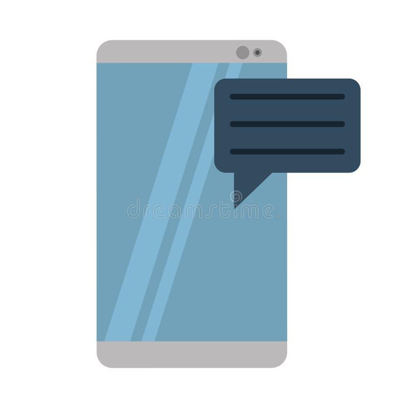 Szary smartphone z bąblem mówi medialną komunikację ilustracji