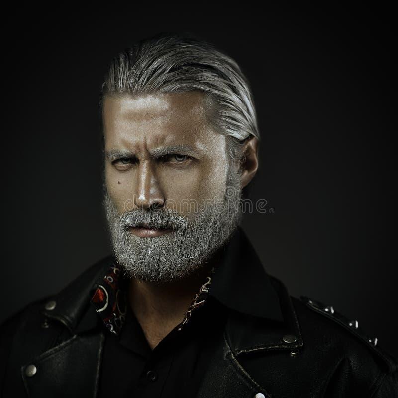 Szary z włosami mężczyzna portret zdjęcia stock