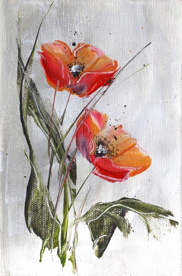 szarzy czerwone maki ilustracji