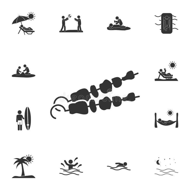szaszłyk ikona Szczegółowy set lato ilustracje Premii ilości graficznego projekta ikona Jeden inkasowe ikony dla stron internetow royalty ilustracja