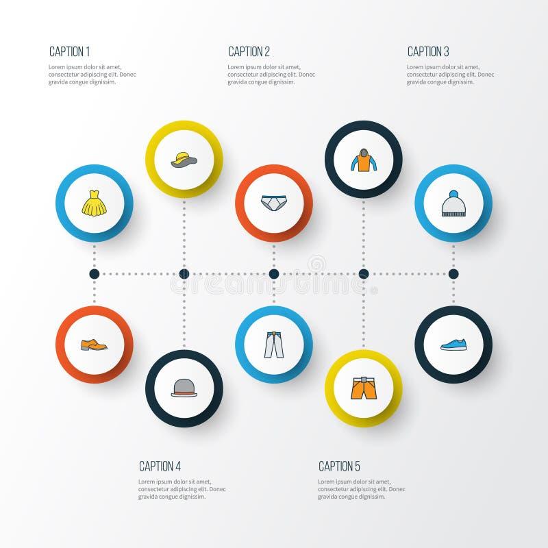 Szata konturu Kolorowe ikony Ustawiać Kolekcja Beanie, mężczyzna obuwie, Sneakers I Inni elementy, Także Zawiera ilustracja wektor