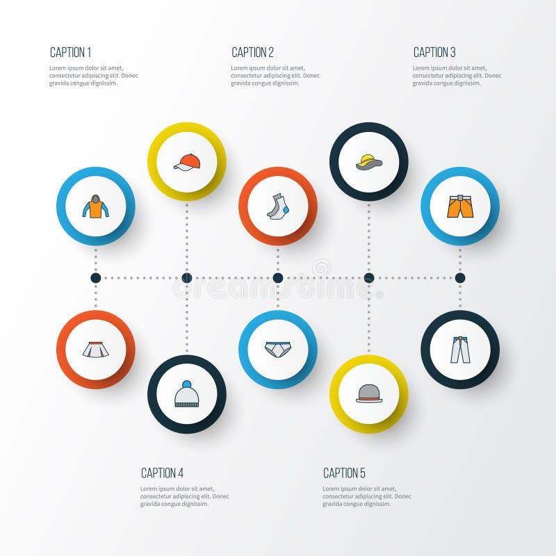 Szata konturu Kolorowe ikony Ustawiać Kolekcja Elegancki kłobuk, nakrętka, majtasy I Inni elementy, Także Zawiera ilustracja wektor