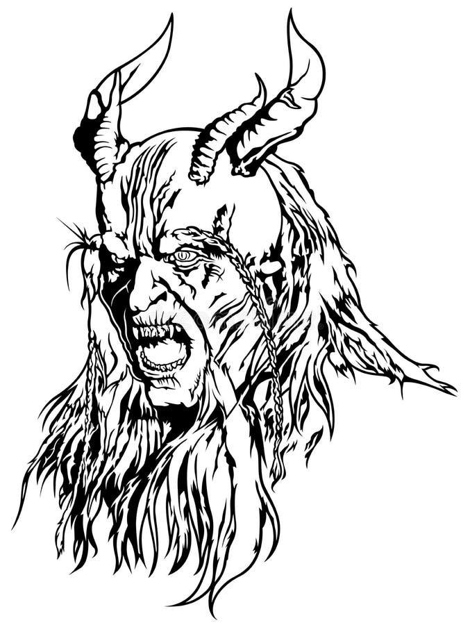 Szatan głowa z Cztery rogami ilustracji
