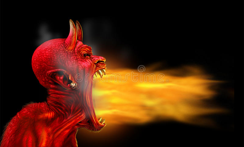 Szatan Płonie Na czerni ilustracji